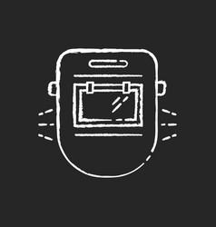 Welder mask chalk white icon on black background vector