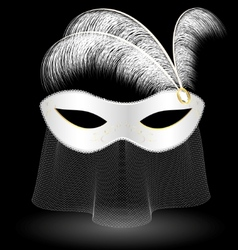 White carnival half-mask and feathers vector