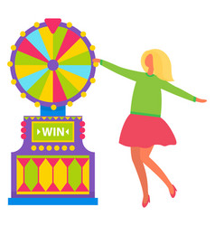 Woman turning fortune wheel and dancing vector