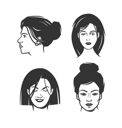 womens faces object vector image