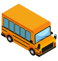 Yellow school bus on white background vector