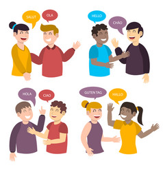 Young people talking in different languages vector