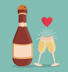 color background with champagne bottle and vector image