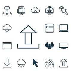 set of 16 internet icons includes team pc vector image