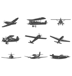 Set of the planes icons isolated on white vector image vector image