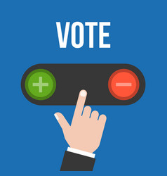 business man hand choose to push button vote vector image