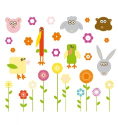 cute animals and flowers vector image