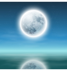 full moon with reflection on water at night vector image