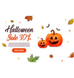 halloween sale with pumpkin vector image vector image
