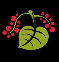 Simple green tree leaf with red seeds stylized vector