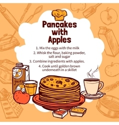 Sketch Of Apple Pancakes Recipe vector image