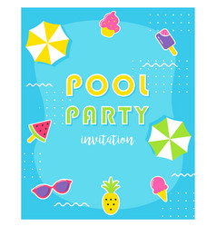 summer pool party poster or invitation card vector image vector image