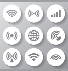 wireless white icons set vector image
