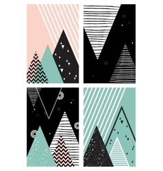 Abstract geometric Scandinavian style pattern set vector image