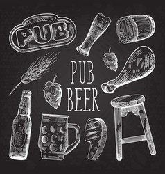 beer hand drawn menu poster banner on chalkboard vector image