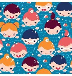 Children swimming seamless pattern background vector image