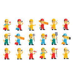 flat set of men in working overalls and vector image