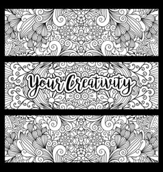horizontal flyers with floral pattern vector image