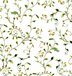 seamless texture with foliate ornament watercolor vector image