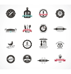 Set of vintage restaurant and food badges labels vector image vector image