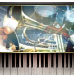 Abstract grunge blue background with piano and vector