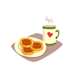 big cup of hot tea or coffee and tasty homemade vector image