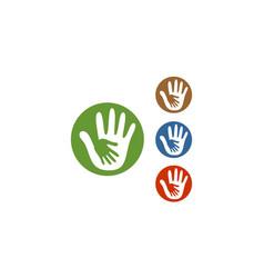 circle hand care logo vector image vector image