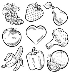 doodle healthy food vector image vector image
