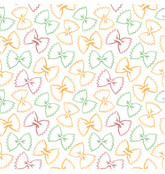 hand drawn pasta farfalle seamless pattern vector image vector image