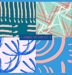 hand drawn seamless summer pattern collection vector image