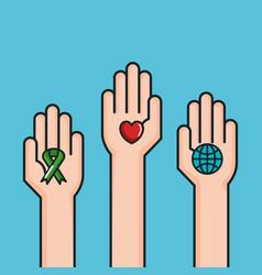 hands symbol peace world love ribbon vector image