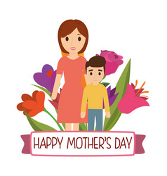 happy mothers day mom and son bouquet flowers vector image vector image