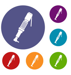 pneumatic screwdriver icons set vector image