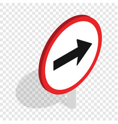Right road sign isometric icon vector