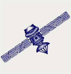 Satellite with dish antenna vector image vector image