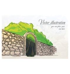 Stone wall in a garden Watercolor imitation vector image vector image