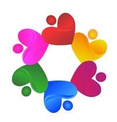 Teamwork charity hearts logo vector image vector image