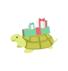 Turtle Cute Animal Character Attending Birthday vector image vector image