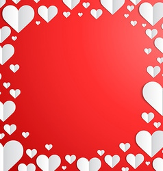 Valentines Day frame with cut paper hearts vector image vector image