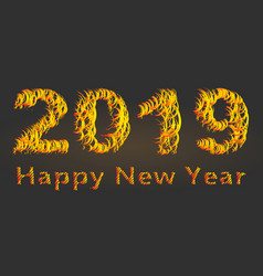 2019 bright inscription fragments of fiery color vector