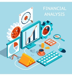 3D Financial Analysis Concept Design vector