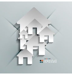 3d paper house home modern design vector image