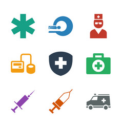 9 clinic icons vector image