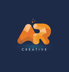 Ar letter with origami triangles logo creative vector