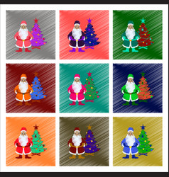 assembly flat shading style christmas tree santa vector image