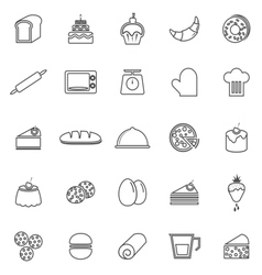 Bakery line icons on white background vector image vector image