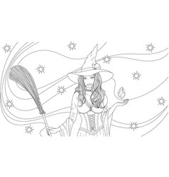 beautiful witch with a broom vector image