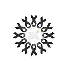 Black ribbon wreath with peace dove vector