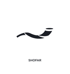 Black shofar isolated icon simple element from vector