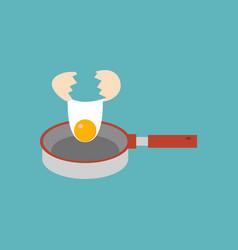Breaking egg falling in panfry vector